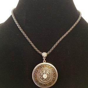 Lia Sophia Toscano Leather Necklace Round Silver
